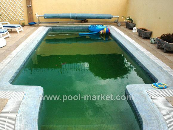 Таким зеленым бассейн стал за три недели без химии. Не думаю, что в такой воде приятно купаться - зеленая вода и слизкие стенки