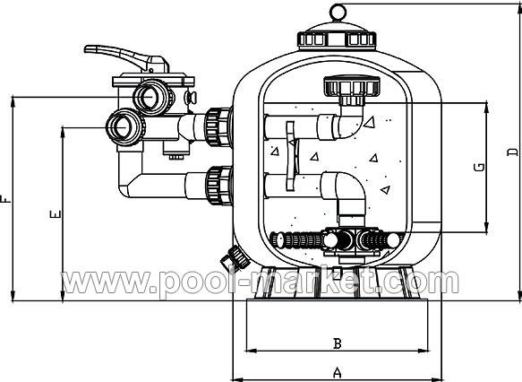 Схема фильтра для бассейна с боковым подключением