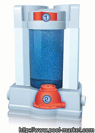 Озонатор или генератор озона 58202. Под цифрой 1 расположен сам генератор озона. Под цифрой 2 расположен генератор нано пузырьков. Благо даря тому, что озон поступает в воду в виде очень мелких пузырьков, он удерживается в воде до одного часа, позволяя дезинфицировать воду более качественно.