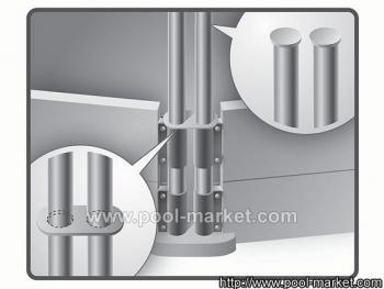 Сборный каркас бассейна Royal выполнен из металлических стоек, наборных стен и скоб для стоек