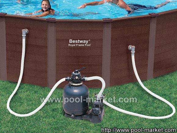 Каркасный бассейн Royal оборудован хорошим песчаным фильтром мощностью 5,7м3/ч