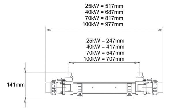 Теплообменники Elecro можно монтировать как на пол, так и на стену. Внешние размеры приведены на этом рисунке.